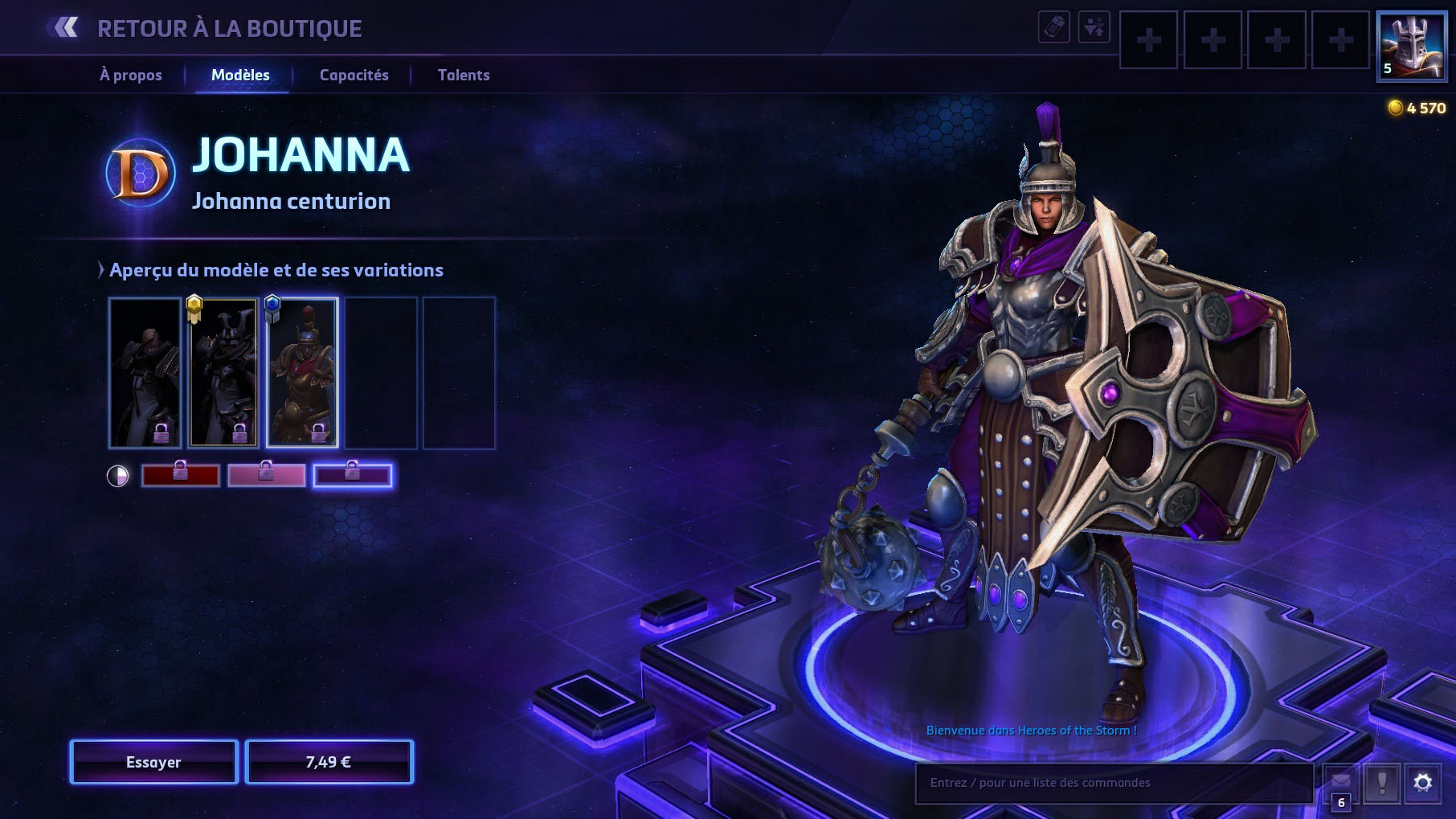 Apparence de Johanna dans Heroes of the Storm